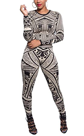 1fee3b42adae Image Unavailable. Image not available for. Color  Allonly Women Long  Sleeve Printed Blouse Pants Two Pieces Jumpsuit ...
