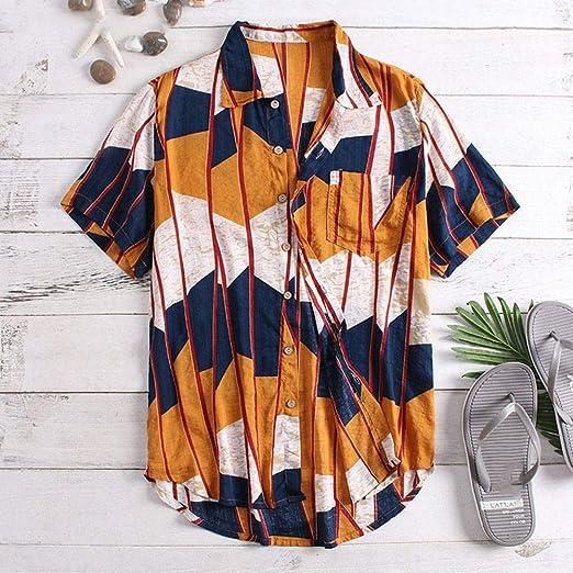 CSDM Camisa de Hombre Verano de los Hombres Hawaianos Visten Nueva Camisa de algodón Camisa de Manga Corta Cuello de la Solapa Suelta Playa Camisa Chemise Llamativo Hombres Ropa: Amazon.es: Hogar