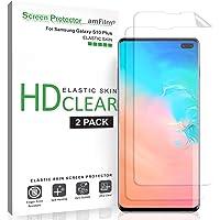 amFilm Protector Pantalla para Galaxy S10 Plus (2 Piezas), Flexible (Fácil Instalación) HD Clear TPU Elástico Protector…