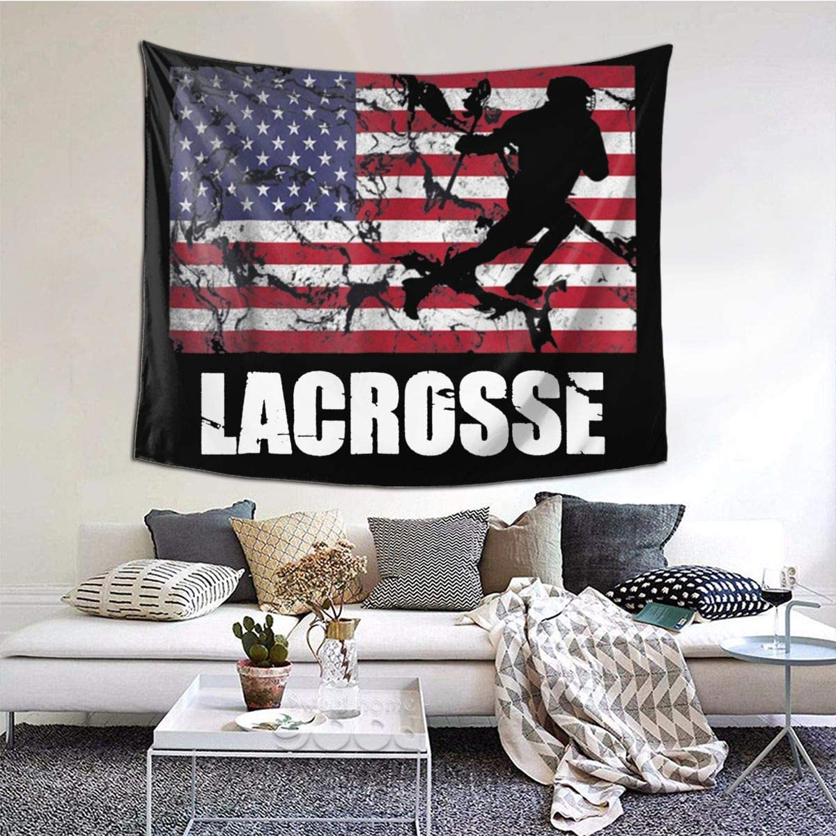 Lacrosse American Flag Tapestry Wall Hanging Tapestry For Living Room Tapestry 60 X 51 Inch Wall Blanket Tapestry Indoor Tapestries