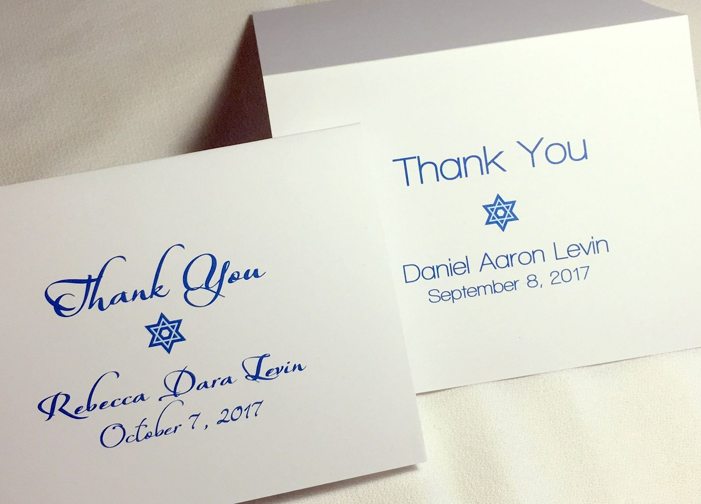 Personalized Bar Mitzvah or Bat Mitzvah Thank You Cards, Set of 50 or 20. Custom folding note cards with matching envelopes. Two font style options., blank inside (50 Block Style Print)