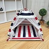 YIXIN Gatti e cani Camera per animali domestici Stenda tenda Stenditura pieghevole Four Seasons Available Stripe Bianco Blu Rosso S / M / L ( dimensioni : L-60*60*60cm )