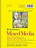 "Strathmore (362-5) 300 Side Spiral Binding Acid-Free Medium-Weight Mixed Media Pad, 5.5""x8.5"", 40 Sheets"