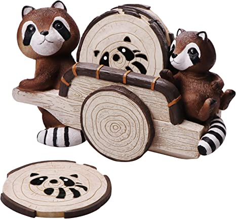 Amazon Com Lumuasky Drink Coasters Set Of 6 Cute Raccoon Round Pads With Holder Wood Style Resin Rustic Bulk For Home Office Bar Dining Room Kitchen Dining