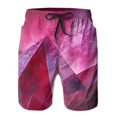 Men's Shorts Swim Beach Trunk Summer Red Pink Diamond Geometry Fit Fashion Shorts With Pockets