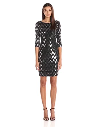 Sangria Women's 3/4 Sleeve Sequin Dress with Zigzag Design, black/Silver, 8