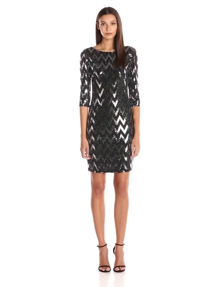 Amazon.com: Sangria Womens 3/4 Sleeve Sequin Dress with Zigzag Design, black/Silver, 14: Clothing