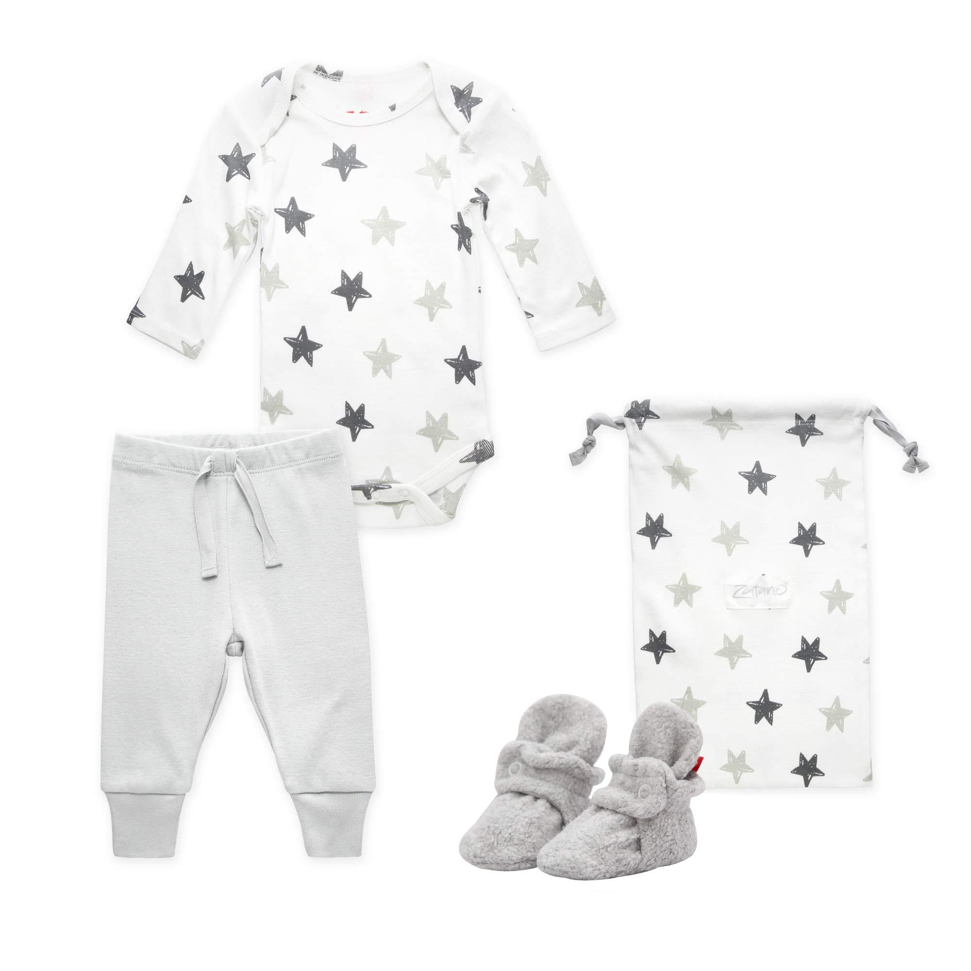 Zutano Baby Booties Gift Set, Stars 3pc, Gray, 3M by Zutano