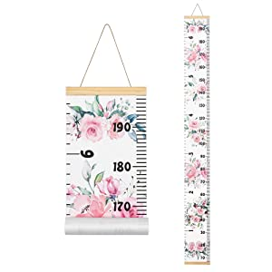 """TILLYOU Thicker Canvas Baby Height Growth Chart for Girls, Hanging Ruler Wall Measurement for Kids or Children, Removable Nursery Room Decor, 79"""" x 7.9"""" Pink Floral Flowers"""