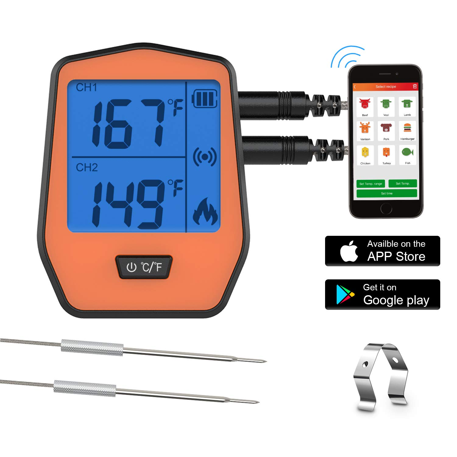 Wireless Remote Digital Meat Thermometer - Smart Cooking Food Thermometer for Candy BBQ Grilling Oven Kitchen Grill with Dual Probe,Support iOS & Android[2019 Latest]
