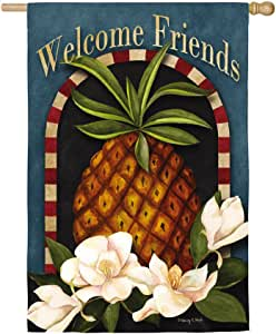 Evergreen Welcome Friends Pineapple Suede House Flag, 29 x 43 inches