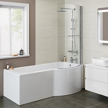 1700 mm Baignoire moderne de bain baignoire en p côté droit avec écran de  douche + Panneau bl127
