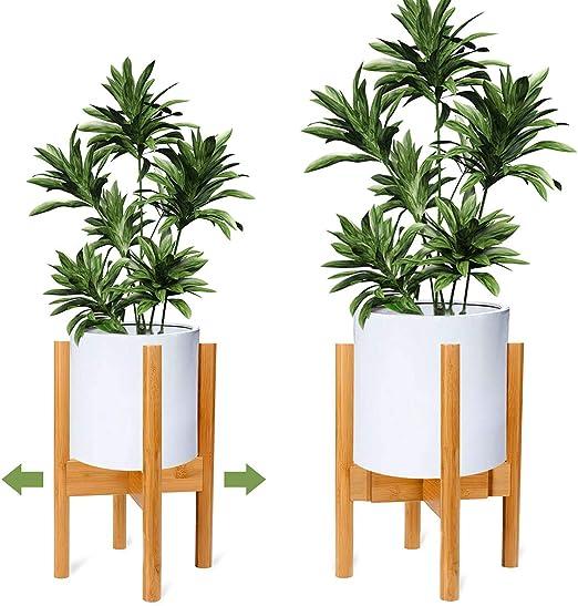 Ogima Soporte Ajustable para Plantas de Madera de Mediados de Siglo, Moderno Soporte para macetas de Flores para Interior y Exterior: Amazon.es: Jardín