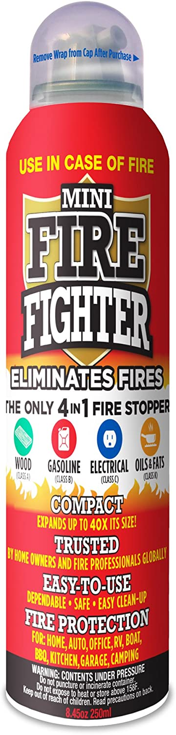 Mini Firefighter MFF01 Multi Purpose 4-in-1 Fire Extinguisher Eliminator for Gasoline, Kitchen Grease, Oil, Electric and Wood Fires. Home Safety