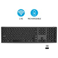 USB Wireless Keyboard, seenda 2.4GHz Rechargeable Compact Full-Size Keyboard with Numeric Keypad for Computer, Desktop, PC, Laptop, Surface, Smart TV and Windows 10/8/ 7 - Black and Grey