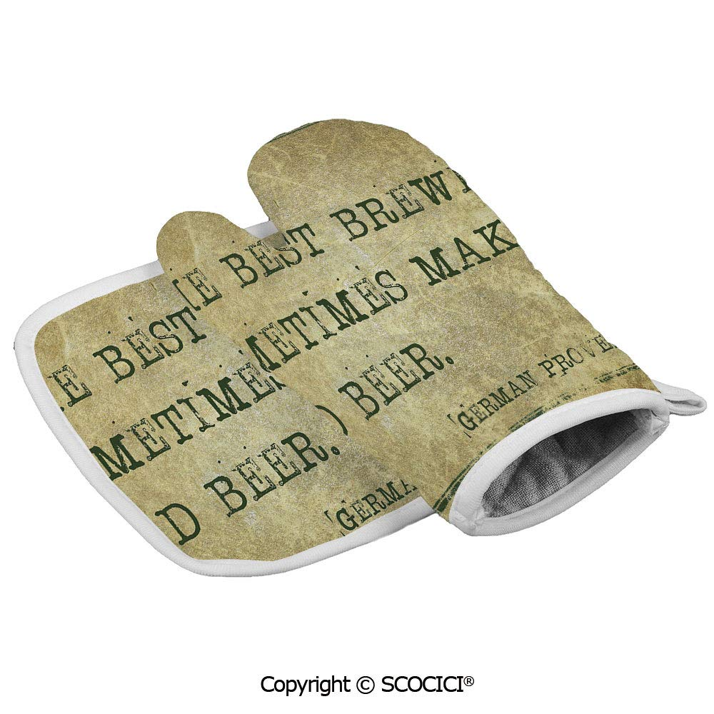 SCOCICI Baking Anti-Hot Glove Ancient German Proverb Words of Wisdom Brewer Oven Microwave Mitts Pot with Square Mat