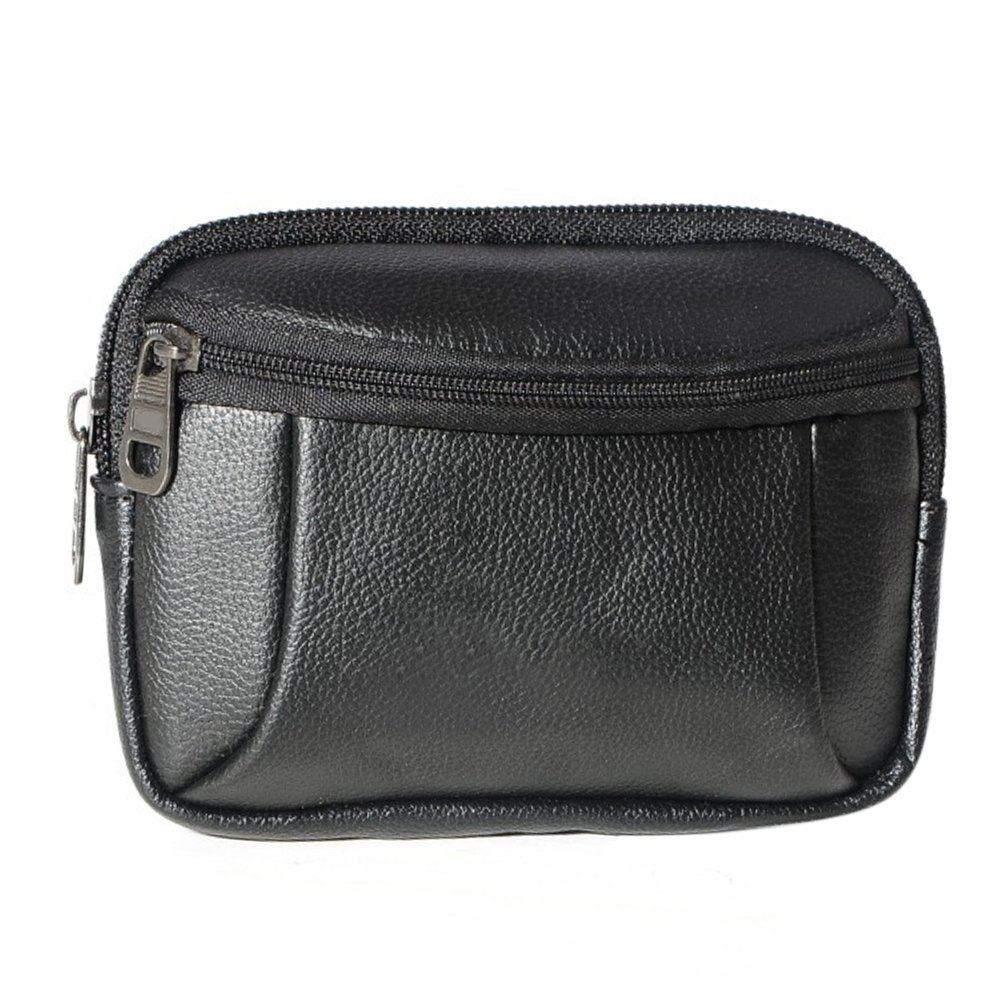 Sanwood? Men's Faux Leather Belt Bag Waist Pack Phone Wallet Case Pouch (Black)