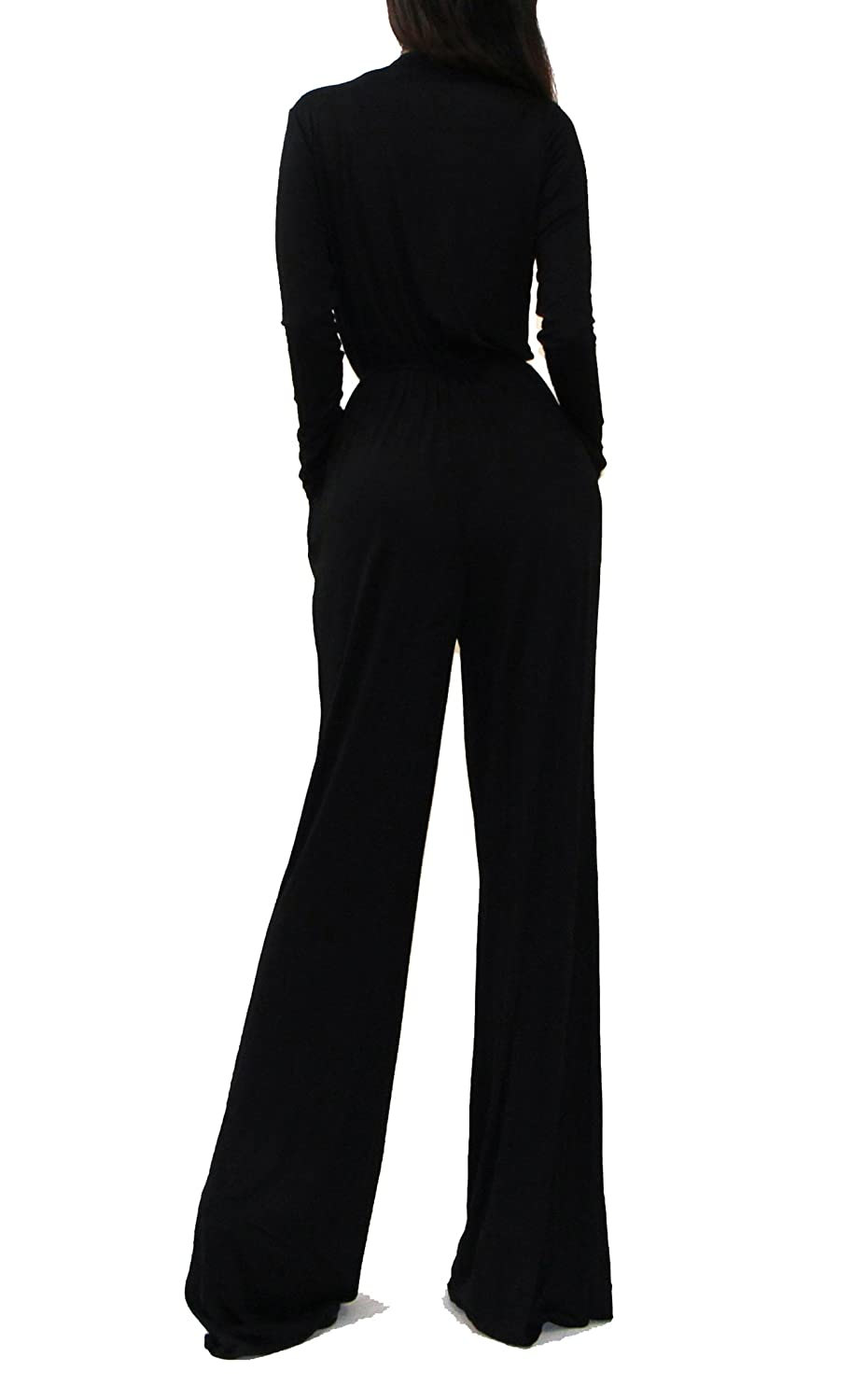 6122a14bd98 Amazon.com  Vivicastle Women s USA Sexy Wrap Top Wide Leg Long Sleeve  Cocktail Knit Jumpsuit  Clothing