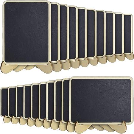 iGadgitz Home U6931-KIT - Mini Pizarra Decorativa Mini Pizarras Madera Borrable con Soporte para Tablón de Mensajes, Exhibidores, Eventos de Boda Decoración de Cumpleaños - Negro - 20 Piezas: Amazon.es: Hogar