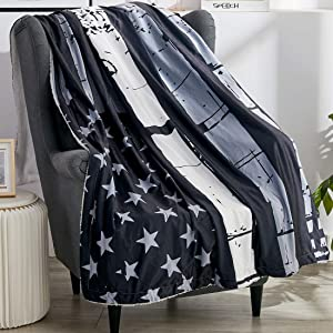 "Black Gray American Flag Bed Blanket Patriotic US Flag Sherpa Throw Blanket 50""x62"" Fleece Plush Cozy Warm Reversible Blanket for Couch-Travel Stripe Throw Cover for 4th of July Independence Day Gifts"