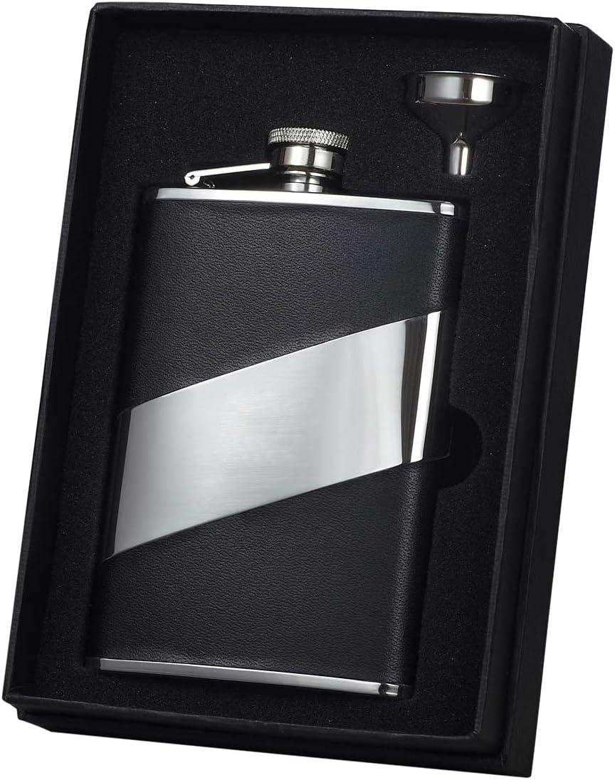 Visol Descent Leather Flask Gift Set 8 Ounce Black Alcohol And Spirits Flasks Flasks
