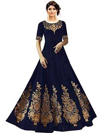966c6382be Drashti villa woman's Embroidered Embellished Taffeta Silk Anarkali Gown  (Free Size_Semi Stitched) (Navy Blue): Amazon.in: Clothing & Accessories