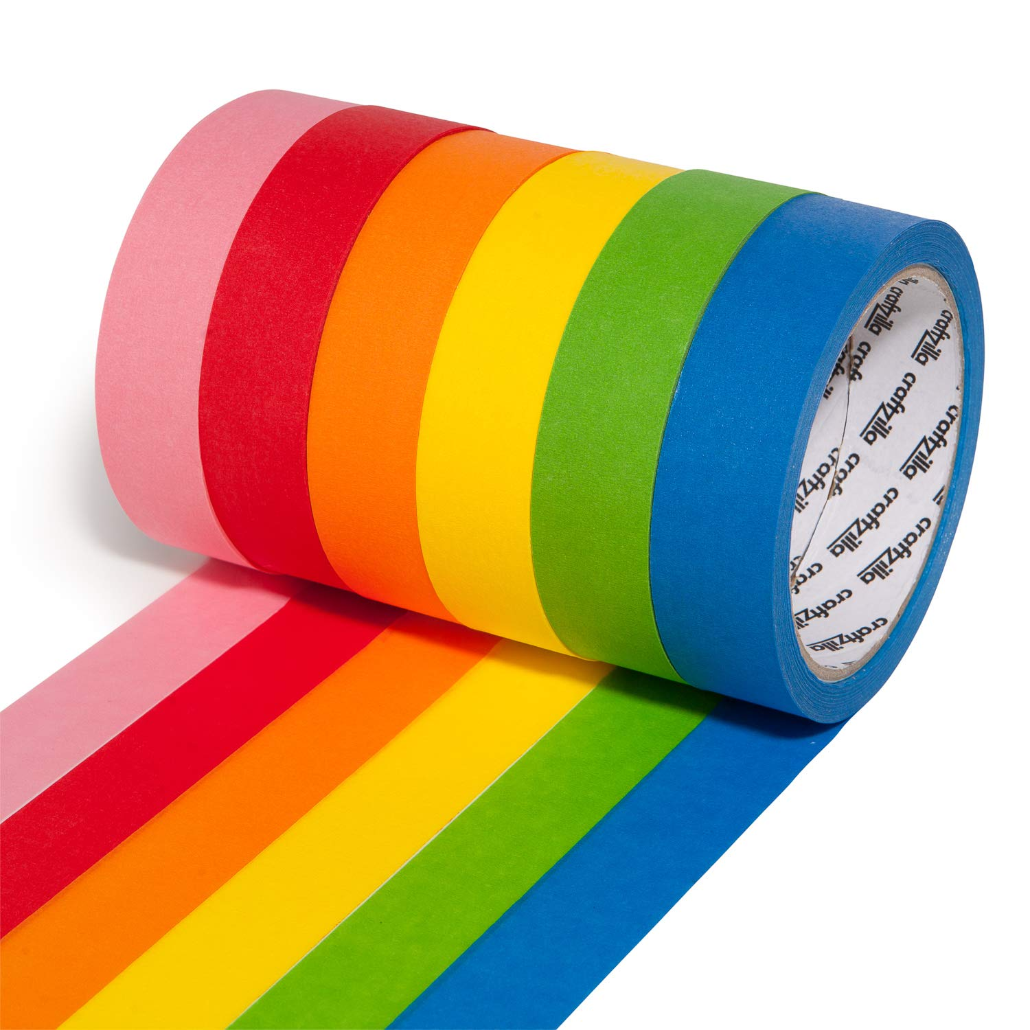 Craftzilla Colored Masking Tape – 6 Rolls of 20 Yards x 1 Inch Rainbow Tape – Colorful Craft Tape for Kids Teachers & Painters - for Home, Classroom, Labeling and Laboratory Identification Use: Industrial & Scientific