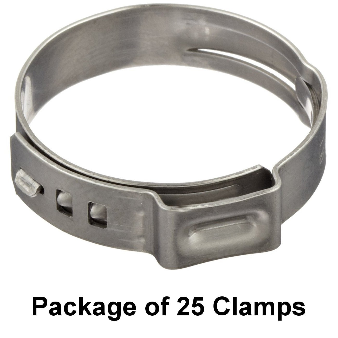 One Ear Open Closed Oetiker 16702493 Stepless Ear Clamp 7 mm Band Width Pack of 25 - 12.8 mm Clamp ID Range 10.3 mm