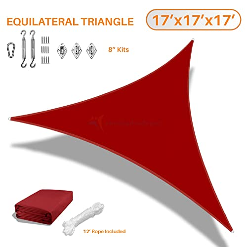 TANG Sunshades Depot 17 x17 x17 Equilateral Triangle Waterproof Knitted Shade Sail with 8 inch Hardware Kit Curved Edge Red 220 GSM UV Block Pergola Carport Awning Canopy Replacement Awning