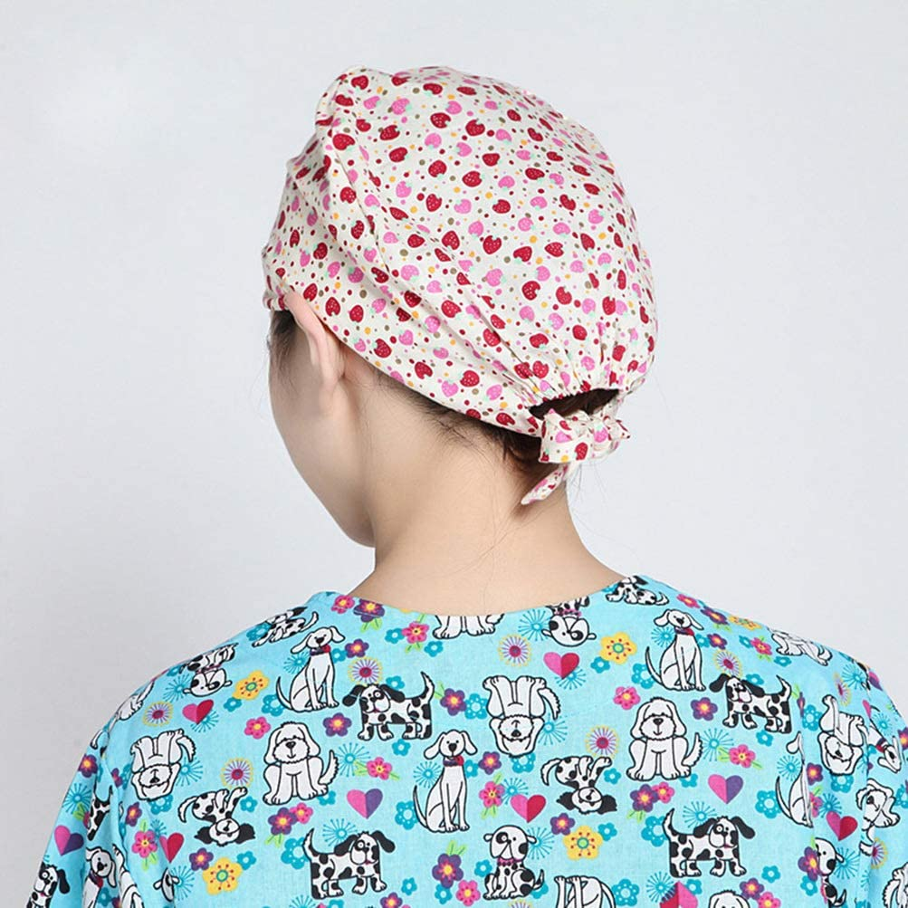 Strawberry FENICAL Surgical Hat Reusable Strappy Unisex Cotton Adjustable Scrub Hat Working Cap for Nurse Doctor