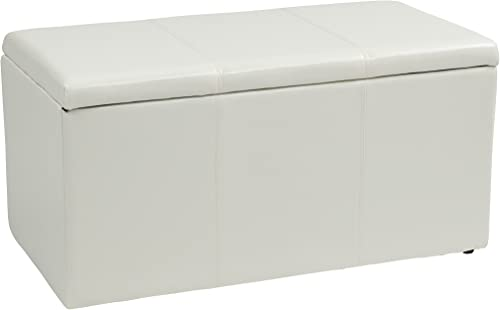 Office Star Metro 3-Piece Bench and Ottoman Cube Set in Vinyl, White