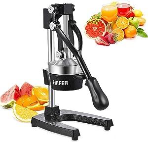 FRIFER Citrus Manual Juicer, Commercial Orange Juice Machine, Professional Fruit Hand Press Squeezer, Lemon Lime Pomegranate Fruit Extracter (Manual Juicers, Black)