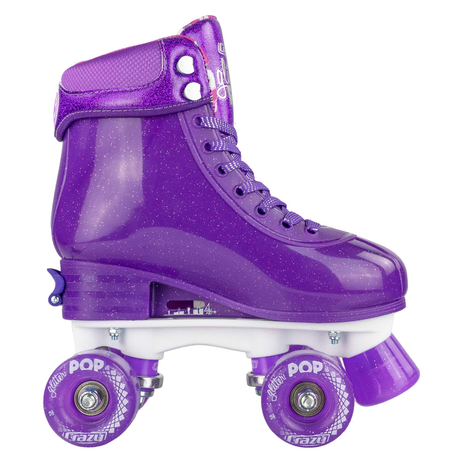 Crazy Skates Glitter POP Adjustable Roller Skates for Girls and Boys | Size Adjustable Quad Skates That Fit 4 Shoe Sizes | Purple (Sizes 3-6) by Crazy Skates (Image #8)