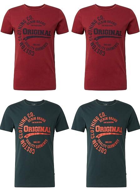 best sell hot product fresh styles TOM TAILOR Denim Herren T-Shirt mit Frontprint im günstigen 4er Pack