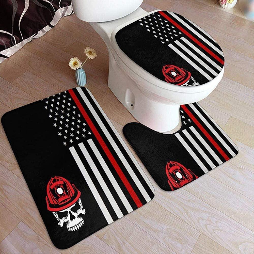 Fireman Skull Thin Red Line Flag Juego de tapetes de baño Ultra Suave Antideslizante Alfombrilla de baño Alfombra Área de Agua Alfombra Juego de 3 Piezas: Amazon.es: Hogar