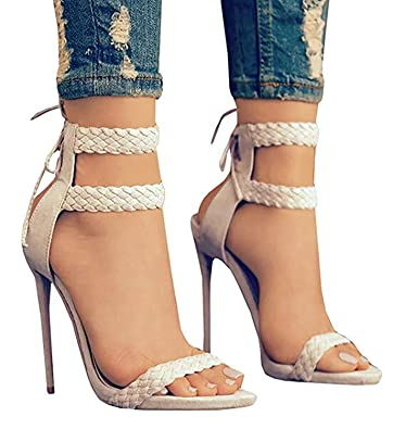 325ca0376 Dellytop Women s Ankle Strap Open Toe Weaving Stiletto Heel Dress Sandals