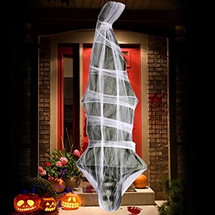 Ufunga 72 Inch Cocoon Corpse Decoration Halloween Decorations Hanging Ghost Scary Home Decor For Yard Outdoor Indoor Party Haunted House