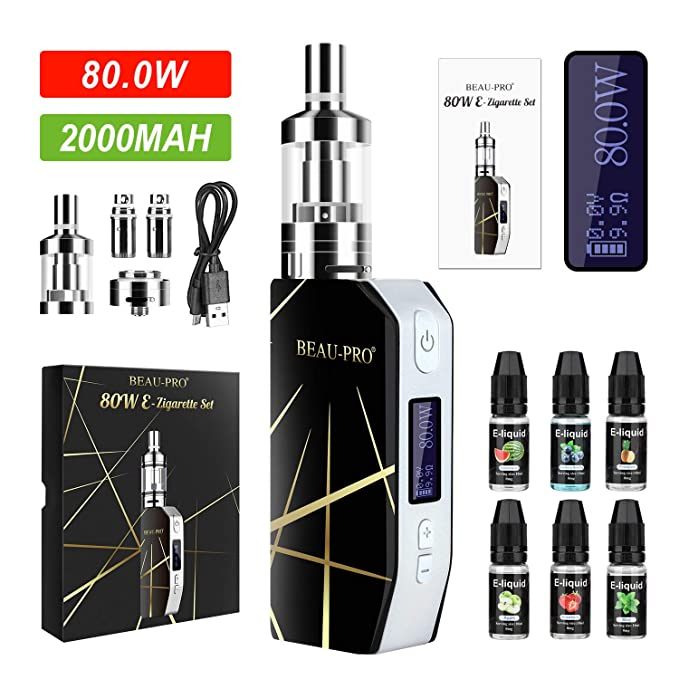 Cigarrillo Electronicos de Vapor sin Nicotina, 80W E/2000mAh Batería Cigarro Electronico Vaporizador Kit con LED Display, 6x10ml 70VG/30PG Elíquido, ...