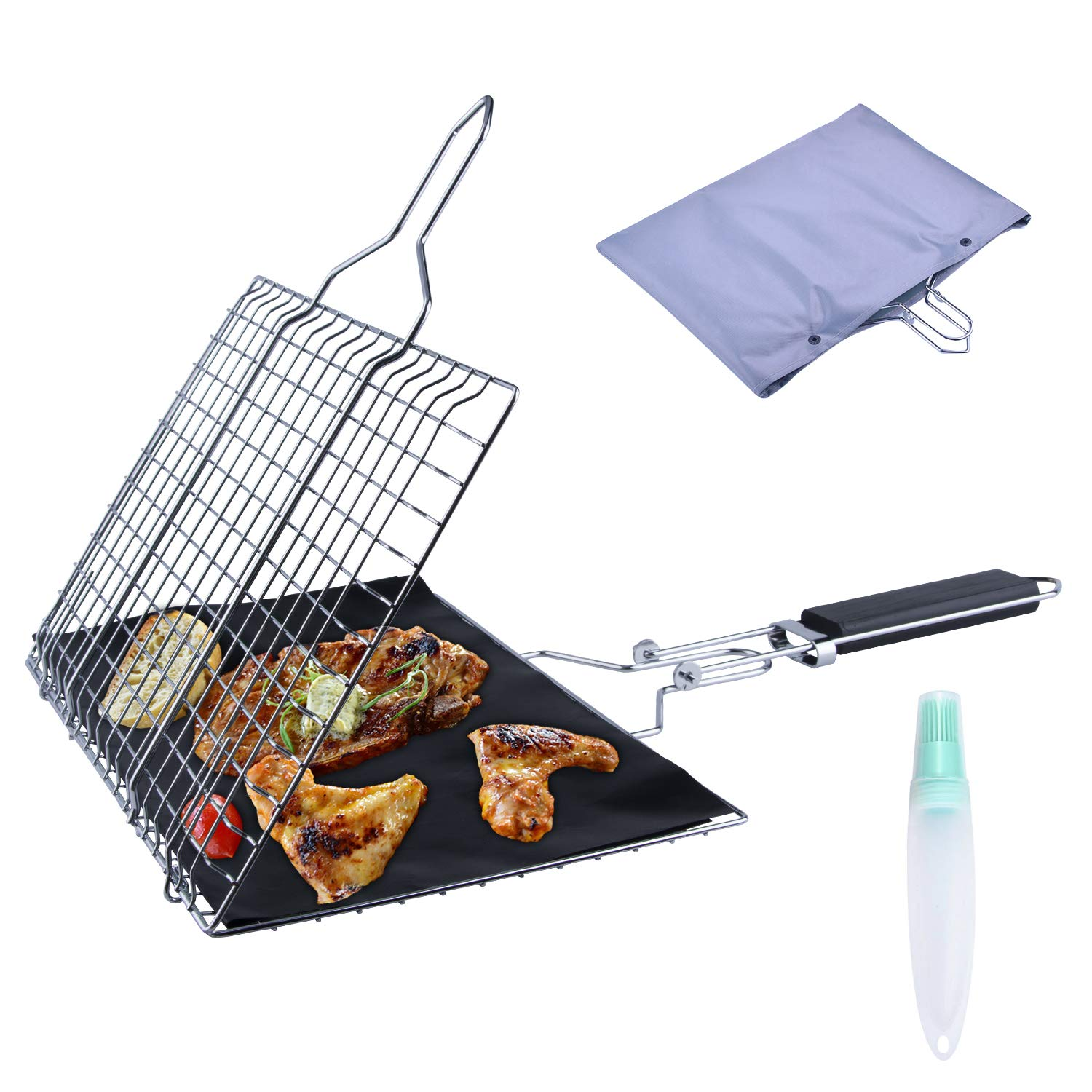 ACMETOP BBQ Grill Basket, Stainless Steel Barbecue Grilling Basket for Fish, Vegetable, Steak - Bonus an Grill Mat, Sauce Bottle Brush and Carrying Pouch