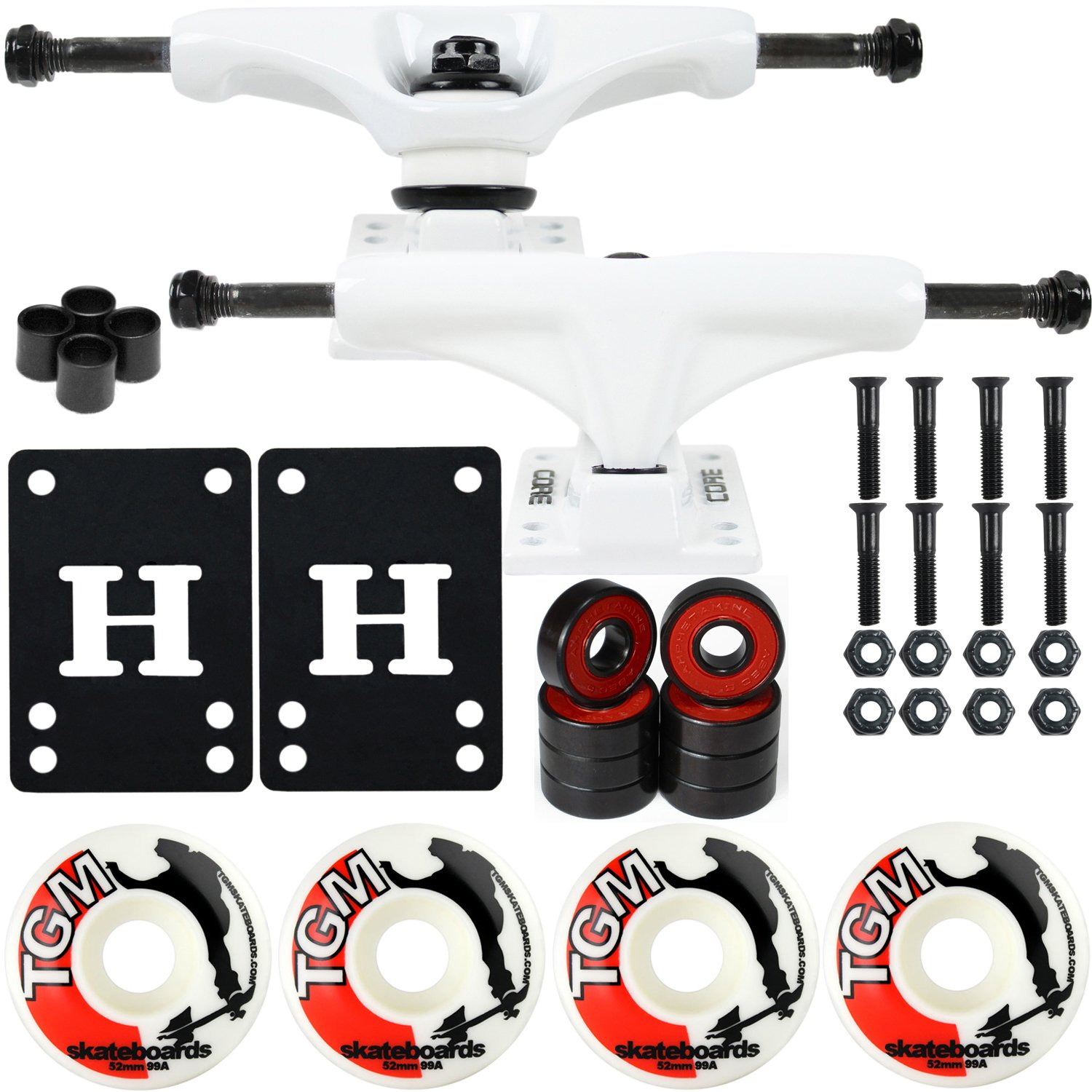 CORE Skateboard Package 5.0'' Trucks 52mm with White Wheels + Components (White Hanger/White Base) by CORE