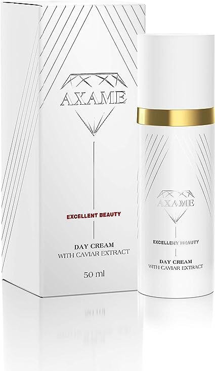 Axame - Crema hidratante de día prémium hipoalergénica con extracto de caviar y efecto antienvejecimiento para combatir las arrugas, 50 ml