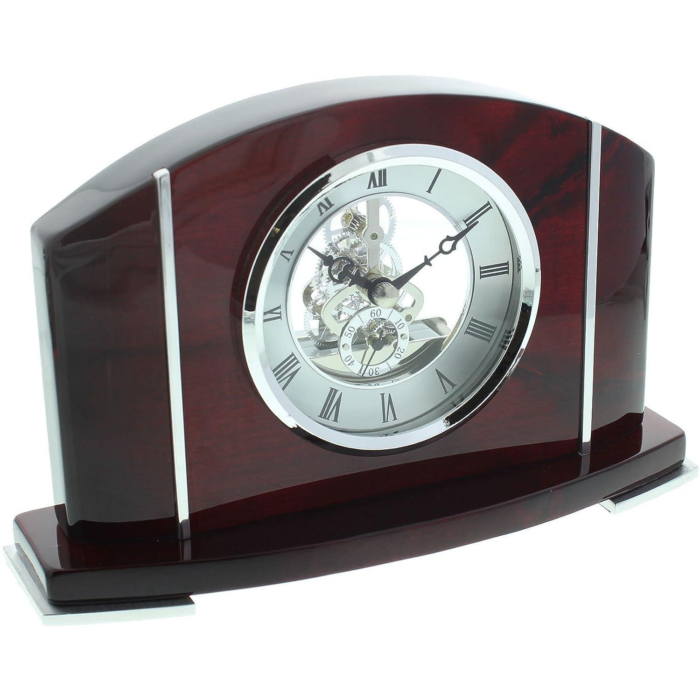 Mogano scheletro orologio da tavolo ampio arco top argento quadrante Wm.Widdop