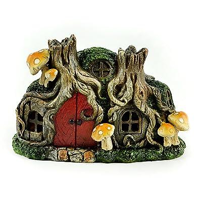 "Touch of Nature 55604 Fairy Garden LED Tree Stump House, 6.25"": Garden & Outdoor"