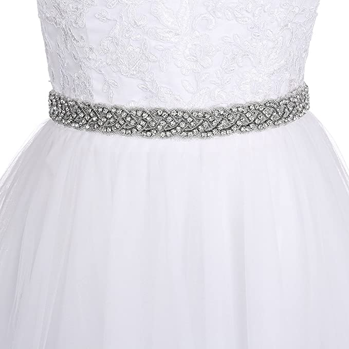 Yinyyinhs Rhinestone Ribbon Sash Belt for Bridal Women\'s Wedding ...
