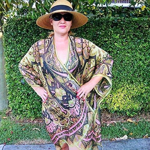 Paisley Silk Kimono, Plus Size Robe, Bridesmaid Cover Up ()