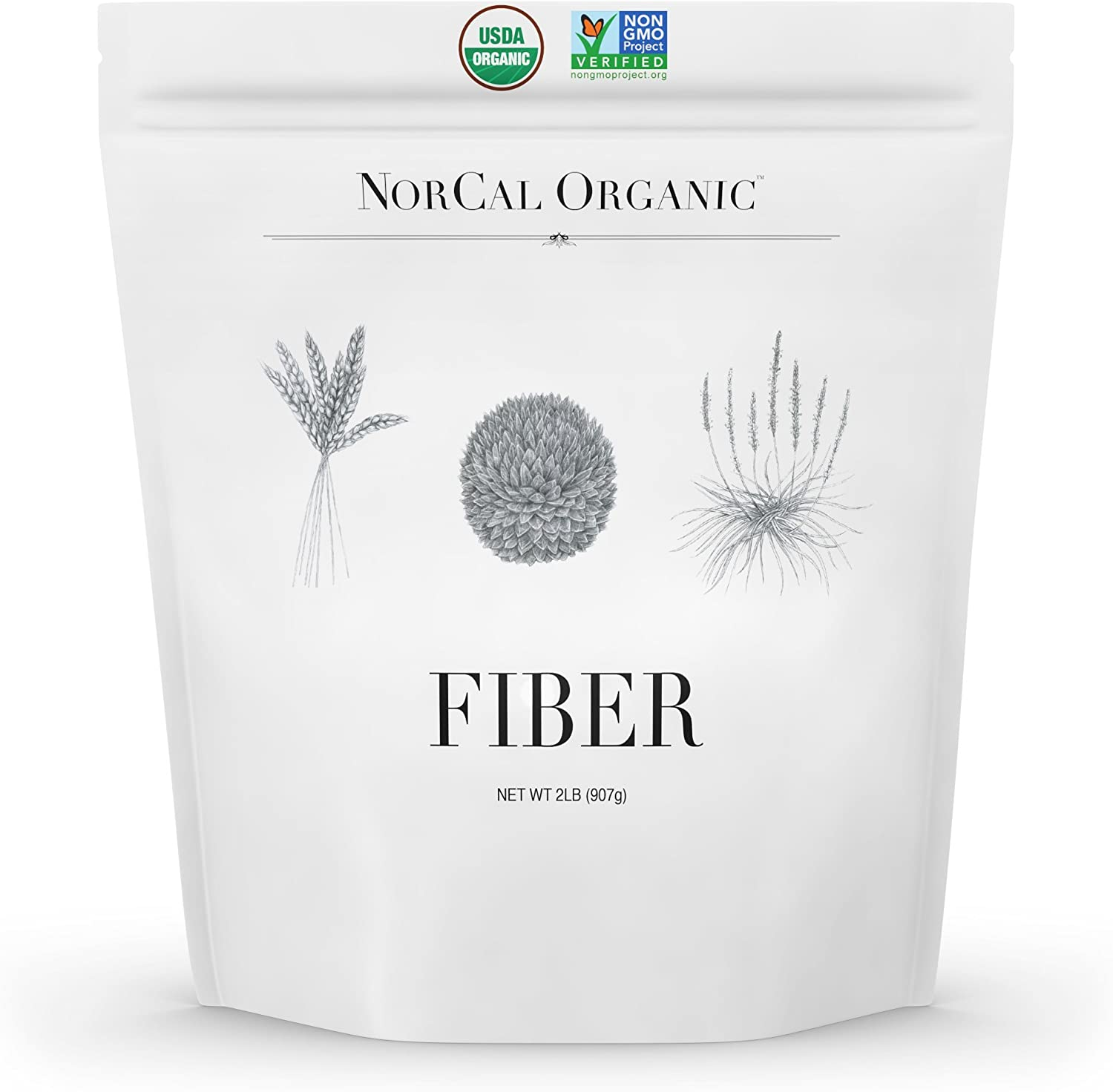 Norcal Organic Fiber 2 lbs   Soluble and Insoluble Fiber Supplement with Prebiotics and Psyllium Husk Powder   Organic, No Soy or Gluten, Non GMO, Source Organic
