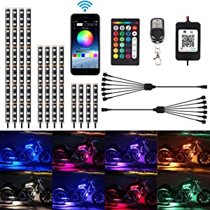 TACHICO 12Pcs Motorcycle LED Light Kit Strips APP/RF Wireless Under glow Lights Atmosphere Multi-Color Lamp with Remote Controller for Harley Davidson Kawasaki Suzuki Ducati Polar