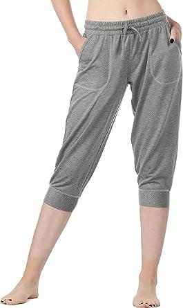 icyzone Femme D/écontract/é Pantalon de Sport Taille /Élastique de D/écontract/é athl/étique Style surv/êtement avec Poche