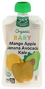 365 by Whole Foods Market, Organic Baby Food, Mango Apple Banana Avocado Kale, 4 Ounce