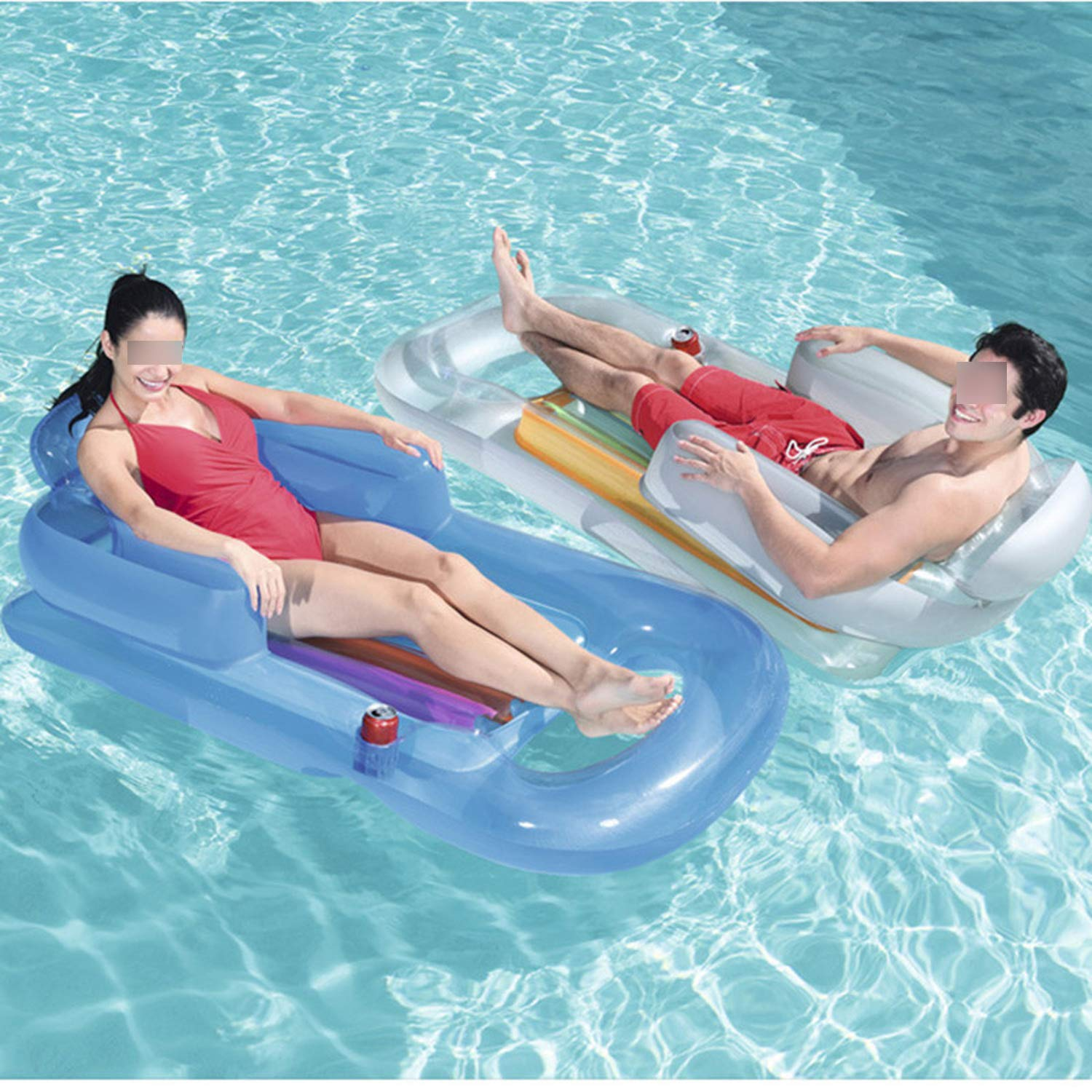 QIUHUAXIANG Inflatable Floating Row 157X89Cm Beach Swimming Air Mattress Pool Floats Floating Lounge Sleeping Bed for Water Sports Party,Random Color by QIUHUAXIANG (Image #4)